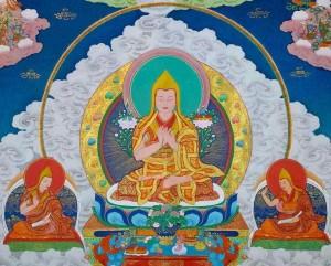 Je Tsongkhapa and heart sons Ganden Tripa Khedrub Je Gyaltsab Je